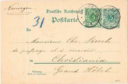 25711. Tarjeta BENSBERG (Alemania Reich) 1890 To Norge. Ver Dorso - Cartas