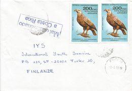Costa Rica Madagascar 1990 Eagle Instructional Handstamp Cover - Costa Rica
