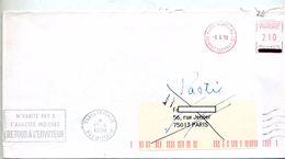 Lettre Machine Paris + Flamme Paris Retour + Muette - Postmark Collection (Covers)