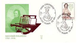 Fdc Ala: PAGANINI 1982, No Viaggiata, AS - 6. 1946-.. Repubblica