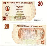 Zimbabwe Banconota 20 $ DOLLARO 2007 PORTATORE P40 NUOVA UNC - Banknotes