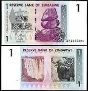 Zimbabwe Banconota 1 Dollaro 2007 RINOCERONTE DI HARARE NUOVA UNC - Banknotes