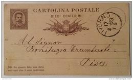 Cartolina Postale Dieci Centesimi Data 17/02/1883 Livorno - 1861-78 Vittorio Emanuele II
