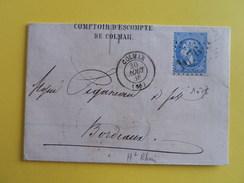 EMPIRE DENTELE 22 SUR LETTRE DE COLMAR A BORDEAUX DU 30 AOUT 1866 (GROS CHIFFRE 1076) - Marcophilie (Lettres)
