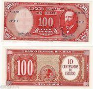 CHILE Billet 100 PESOS SURCHARGE 10 CENTIMOS DE ESCUDO (1960-61) P127 NEUF UNC  - Banknotes