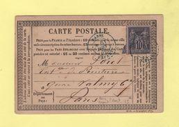 Paris Depart - 21 Juin 1878 - Obliteration Bleue - Carte Précurseur - Marcophilie (Lettres)