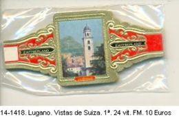 Vitolas Lugano. Vistas De Suiza, Serie 1ª. F.M. Ref. 14-1418 - Vitolas (Anillas De Puros)