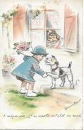 """BOURET GERMAINE ORIGINALE  """" T'en Fais Pas J T'ai Apporté Un Ticket De Sucre  """" CHIEN  FOX Postée En 1947 T.B.E. 2 SCANS - Bouret, Germaine"""