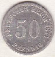 Empire. 50 Pfennig 1876 C (FRANKFURT) , En Argent - [ 2] 1871-1918: Deutsches Kaiserreich