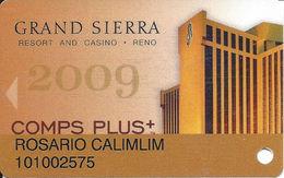 Grand Sierra Casino - Reno, NV - Gold Comps Plus 2009 Slot Card - Casino Cards