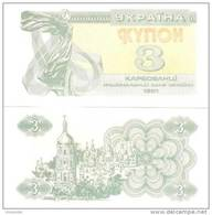 UKRAINE 3 Coupon  X 10 (LOT OF 10 BANKNOTES) **UNC** - Ukraine