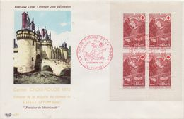FRANCE :1970: Y.C2019/1662(4x) Sur FDC :  CROIX ROUGE,«Fresque De La Chapelle De DISSAY»,FRESCO, - Escultura