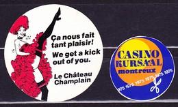 Casino Montreux 1975 Und Montreal, Werbemarken - Hotelaufkleber