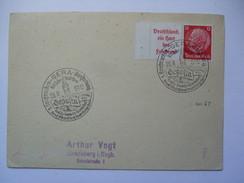 Germany 1937 Postkarte - Gera Briefmarken Austellung Sonderstempel - Deutschland