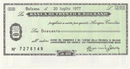 MINIASSEGNO BANCA TRENTO BOLZANO 200 L. UN COMM TURISMO BZ (A63---FDS - [10] Assegni E Miniassegni