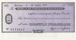 MINIASSEGNO BANCA TRENTO BOLZANO 100 L. UN COMM TURISMO BZ (A70---FDS - [10] Assegni E Miniassegni
