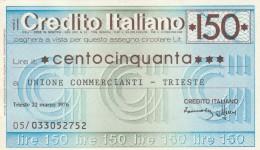 MINIASSEGNO CREDITO ITALIANO 150 L. UN COMM TS (A169---FDS - [10] Assegni E Miniassegni