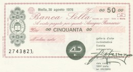 MINIASSEGNO BANCA SELLA 50 L. GALLERIA D'ARTE (A190---FDS - [10] Assegni E Miniassegni