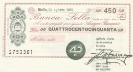 MINIASSEGNO BANCA SELLA 450 L. GALLERIA D'ARTE (A191---FDS - [10] Assegni E Miniassegni