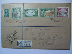 JAMAICA GEORGE VI REGISTERED FIRST DAY COVER DEFINITIVES - Up To 6d Value - Jamaïque (...-1961)