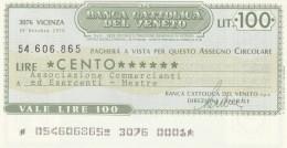 MINIASSEGNO BANCA CATTOLICA VENETO 100 L. ASS COMM MESTRE (A230---FDS - [10] Scheck Und Mini-Scheck