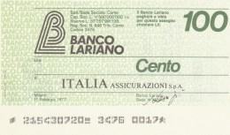 MINIASSEGNO BANCO LARIANO 100 L. ITALIA ASSIC (A288---FDS - [10] Assegni E Miniassegni