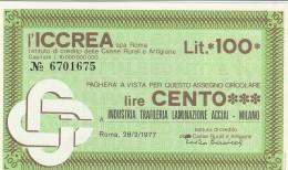 MINIASSEGNO ICCREA 100 L. INDUSTRIA TRAFILERIA (A318---FDS - [10] Scheck Und Mini-Scheck