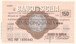 MINIASSEGNO BANCO DI SICILIA 150 L. ASS PIEMONTESE ORTOFLOROFRUT. (A342---FDS - [10] Scheck Und Mini-Scheck