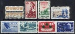 CANADA, Yv 255, 304, 313, 315, 318, 321, 327, 373, (*)/* MNG/MLH, F/VF - 1952-.... Règne D'Elizabeth II