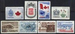 CANADA, Yv 326, 352, 355, 365, 370, 372, 377, 390, (*)/* MNG/MLH, F/VF - 1952-.... Règne D'Elizabeth II