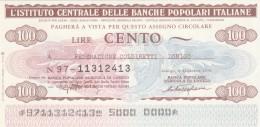 MINIASSEGNO IST.CENTR. BP ITALIANE 100 L. COLDIRETTI LONIGO (A572---FDS - [10] Assegni E Miniassegni