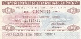 MINIASSEGNO IST.CENTR. BP ITALIANE 100 L. COLDIRETTI LONIGO (A573---FDS - [10] Assegni E Miniassegni
