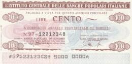 MINIASSEGNO IST.CENTR. BP ITALIANE 100 L. CONS AGRARIO SO (A581---FDS - [10] Assegni E Miniassegni