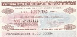 MINIASSEGNO IST.CENTR. BP ITALIANE 100 L. ASS ALBERGATORI CAORLE (A592---FDS - [10] Assegni E Miniassegni