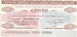 MINIASSEGNO IST.CENTR. BP ITALIANE 100 L. UN COMM LECCHESI (A600---FDS - [10] Assegni E Miniassegni