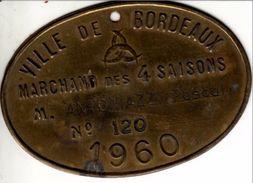 Bordeaux - Plaque Professionnelle, Marchand Des 4 Saisons, 1960 - Professionnels / De Société