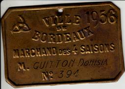 Bordeaux - Plaque Professionnelle, Marchand Des 4 Saisons, 1956 - Professionnels / De Société