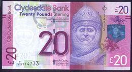 UK Scotland 20 Pounds 2015 UNC P- 229Kd < Clydesdale Bank > - 20 Pounds