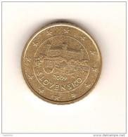 SLOVAQUIE 2009 /  Pièce De 0.50 Euro (50 Centimes) 2009 De Circulation/  Bon état/ Scan Non Contractuel 2 Exemplaires - Slovakia