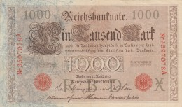 GERMANIA 1910 1000 MARCHI -EF (BA116 - [ 3] 1918-1933 : République De Weimar