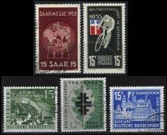 SARRE, Yv 304, 339, 418/9, 428: Mi 317, 357, 436/7, 446, */o M/U, VF/XF, Cat. € 3,00 - 1947-56 Occupation Alliée