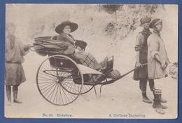 China Tibet Postcard Thibetans With Rickshaw Darjeeling Himalaya Vintage Postcard - Tibet