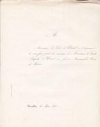 BRUXELLES Mariage 1860 Duc Auguste D'URSEL Et Marie De CROIX 1 Faire-part - Mariage