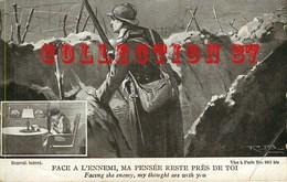 GUERRE 14 - POILU Dans Une TRANCHEE FACE à L'ENNEMI - FACING THE ENEMY <  CARTE PATRIOTIQUE - Guerra 1914-18