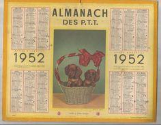Calendrier Grand Format 12 Pages , ALMANACH 1952 DES P.T.T. , NORD ,2 Scans , Frais Fr : 2.70 Euros - Big : 1941-60