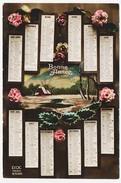 CPA  Calendrier 1921 (3) Bonne Année    Fleur Rose Houx Paysage Neige Maison Arbre - Nouvel An