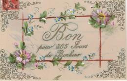 """17 / 9 / 370  -  """"  BON  POUR  365  JOURS  DE  BONHEUR  """"-  CARTE  FLEURIE (peinte Main )  En  Celuloïde - New Year"""