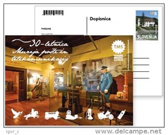 Post Telecommunication Museum Postal Stationery Card 2015 Castle Pigeon Horse Telephone Motorrad Motorcycle Carriage - Correo Postal