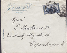 Italy JANER & C Raffineria Di Riso VERCELLI 1926 Cover Lettera Denmark Francescano Stamp - Storia Postale
