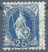 Stehende Helvetia 73D, 25 Rp.blau  ABART       Ca. 1895 - Usati